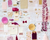 SALE! Gift Wrap Kit, Pink Gold Purple, Paper Kit, Embellishment Kit, Gift Wrap, Pink Gold Gift Wrap, Pink Gold Kit, Blush Pink Beet, Wedding