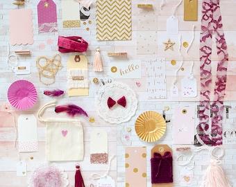 VENTE! Kit d'emballage cadeau, rose violet or, Kit papier, Kit de décoration, cadeaux, cadeaux or rose, Rose Gold Kit, fard à joues rose betterave, mariage