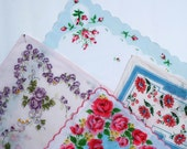 Vintage Hankies Floral Roses lot of 4