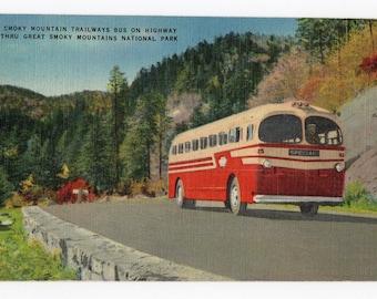 Smoky Mountain Trailways Bus vintage linen pc