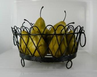 Vintage Metal Wire Basket Black French Wire Basket Fruit Basket Storage Basket