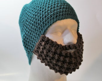 Crochet Bearded Skullcap in Teal - Beard Hat - Hat with Beard Face Warmer - Ready To Ship!