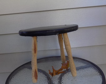 Vintage wooden stool, wood foot stool, plant stand, kids furniture, step stool, with black plastic cover