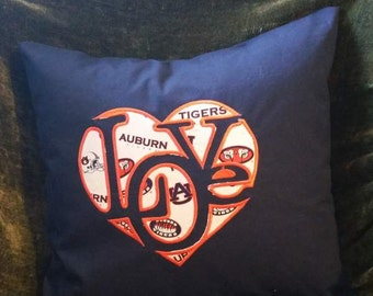 "Embroidered Auburn Tigers ""Love""  Pillow Cover  - 18 x 18- Auburn"