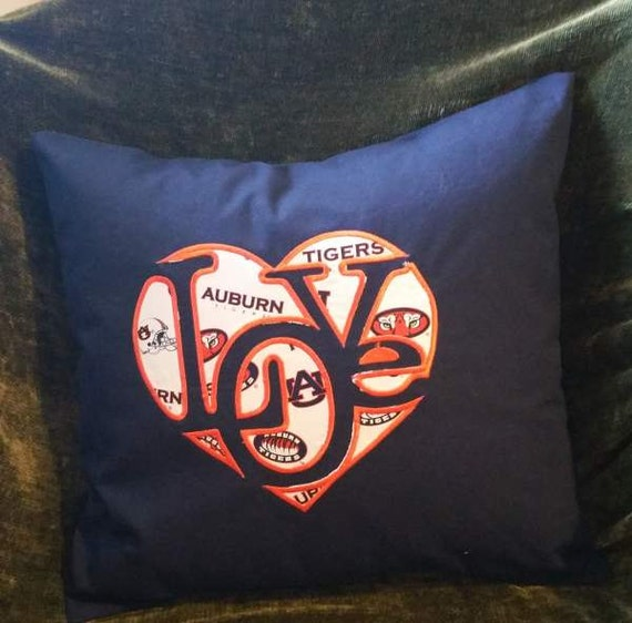 """Embroidered Auburn Tigers """"Love""""  Pillow Cover  - 18 x 18- Auburn"""