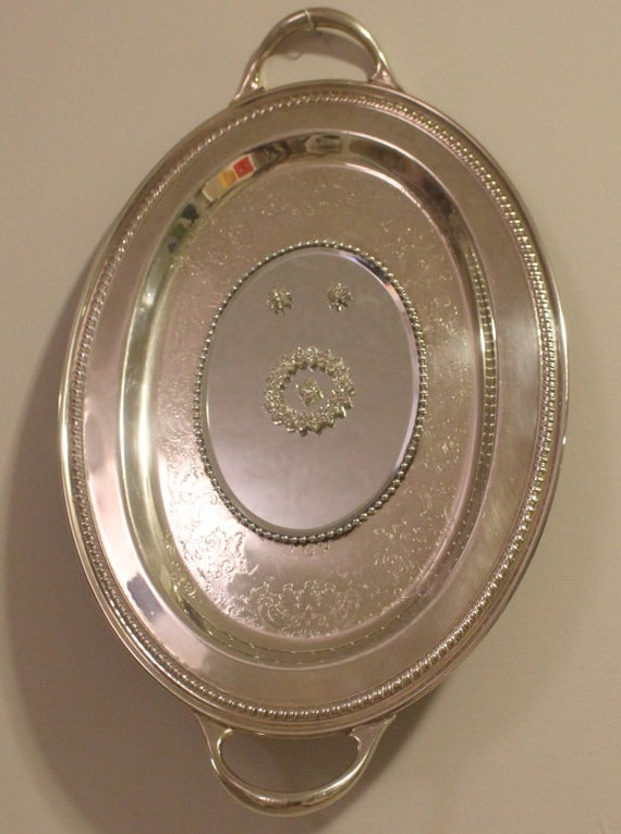 Large Oval Fancy  Silverplated  Mirrored Tray/ Wall Decor