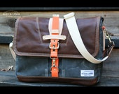 Waxed Canvas Messenger bag - handmade - Military style + genuine leather accents - Laptop messenger charcoal grey Orange - 010019