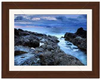 Rocky Beach Blue Hues Seascape Photographic Print - Various Sizes - Gift Idea