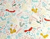 Cute forest animal print on white background. Faraway forest by lizzie mackay, cute fabric