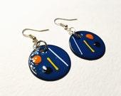 Enameled Earrings - Boho chic torch-fired enamel over copper dangle earrings