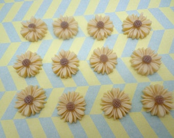 Flower Cabochons Resin Flowers 20pc Champagne  Color Resin Sunflower Charms--14mm