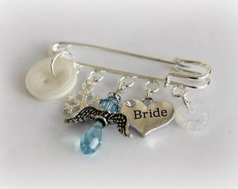 Something Old New Borrowed Blue Winter Wedding Gift Bridal Gift Wedding Present Angel Charm