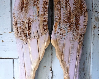 Pink distressed angel wings wall hanging wood and metal shabby cottage rusty weathered cherub wing set gold accents decor anita spero design