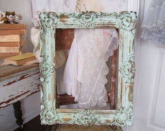 Ornate green picture frame large shabby cottage chic distressed wall hanging gold accents wood frame home decor anita spero design