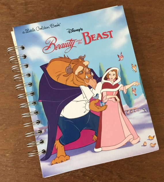 Beauty and the Beast Little Golden Book Recycled Journal Notebook