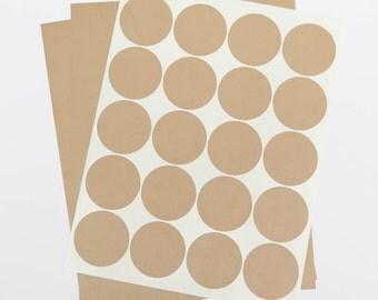Round Brown Kraft Labels - 2 inch Circles | Printable Mason Jar Labels, Fits Standard 4oz 8oz Ball Jars, Brown Kraft Stickers