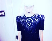 Sequin Dress Silver Black Beaded Goth Glam Jakelin Designs Medium Free Shipping