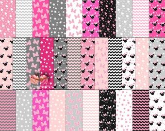 Minnie Mouse Pink Black Gray Dark Pink Chevron Paper Set