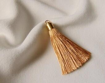 Silk Tassel Charm, Gold Tassels , Jewelry Making Tassels,  Handmade Tassels