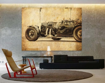 ASTON MARTIN Ulster 1935 Classic Car Poster, Vintage Background Line Art Print, Art Print 10x14in and larger sizes, Motorcycle print