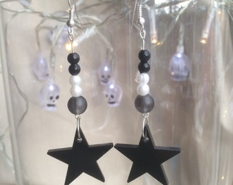 Black Acrylic Star and Beads Earrings Gift
