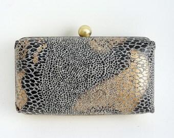 Black, Gold & Bronze Snakeskin Print Minaudière Box Clutch - Evening/Prom/Purse - Includes Crossbody Chain - Ready to Ship