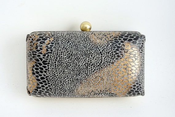 Black, Gold & Bronze Snakeskin Print Minaudière Box Clutch - Evening/Prom/Purse - Includes Crossbody Chain - Ready to Ship