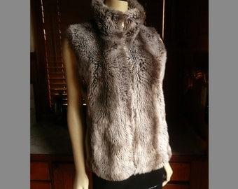 Vintage 90s Boho Vegan Faux Fur Silver Mink Vest Reversible M-L