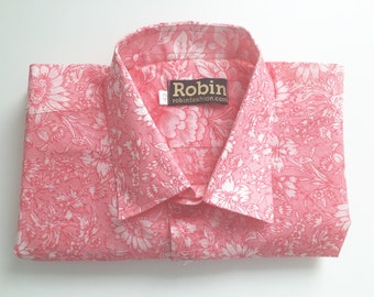 Mens shirt pink floral print on white base separate detailing inside collar Short sleeves. VERY light weight  100% cotton