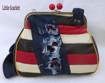 retro in multicolored leather and jean Sling bag