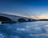 Sunset over Frozen Potomac River, Memorial Bridge, Washington DC -- Color Fine Art Photography Print