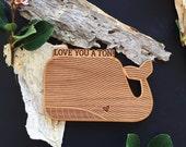 Love You a Ton Whale Shape Wood Card - Anniversary Card, Valentine Card for Boyfriend, Boyfriend Birthday Card