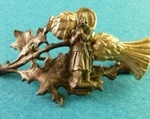 St Joan of Arc Antique French Brooch Religious Catholic  Vintage France Jewelry