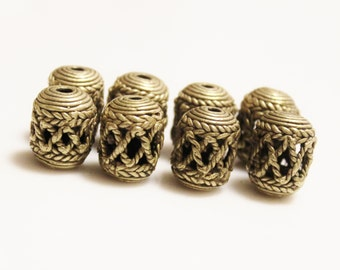 8 African Brass Spacer Beads, Unique Ethnic Beads, Jewelry Making Supplies (AB61)