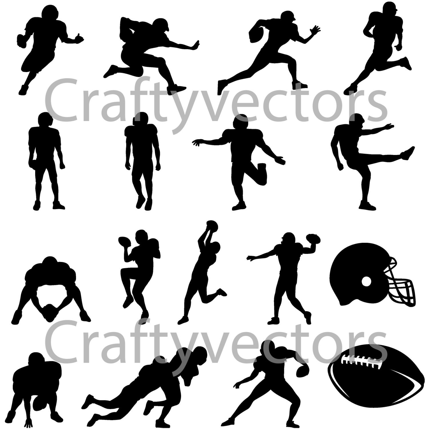 American Football Silhouettes Vector Svg File