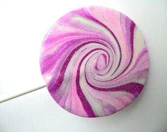 Purple and Pink Swirl Spiral Fake Lollipop