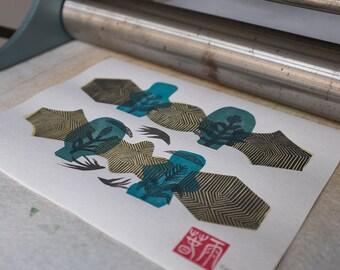 Zen Garden III. original linocut monotype print, geometric tribal art