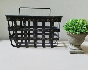 Metal Basket Hanging Basket  Farmhouse Decor Chippy paint