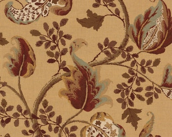SCHUMACHER CLASSIC JACOBEAN Cotton Linen Fabric 10 Yards Honey Multi