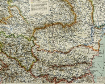 1895 Antique map of ROMANIA, BULGARIA and SERBIA. 121 years old chart