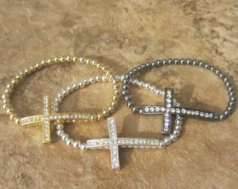 Beaded Cross Bracelet. Cross Bracelet. Sideways Cross. Side Cross Bracelet. Bead Cross Bracelet. Cross Jewelry. Faith Bracelet.