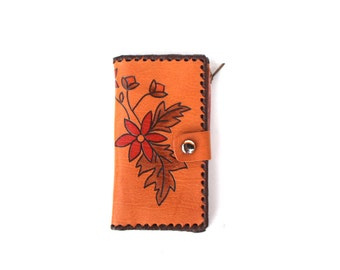 Womens wallet Leather wallet Vintage Unused wallet Estonia Embossed leather Tooled leather Flower Natural wallet Wallet with mirror