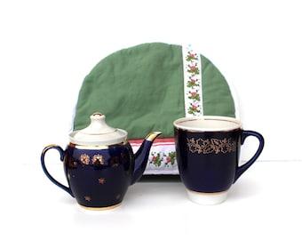Soviet vintage large coffee mug Cobalt blue coffee pot Large blue teacup Cobalt blue coffee cup Cobalt blue teacup Large vintage teacup