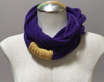 Jersey Scarf - Purple - Repurposed T Shirt, Up-cycled, Eco-friendly, Woman, Girl