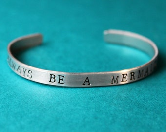 Always Be A Mermaid Bracelet, Mermaid Jewelry, Hand Stamped Cuff Beach Bracelet, Red Hair and Seashells, Sea Jewelry, Greek Mythology,