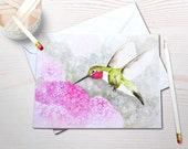 Watercolor notecard set, hummingbird painting, personal stationery, gardening notecards, art reprint, watercolor hummingbird, blank notecard