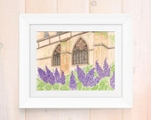 Watercolor print, stained glass painting, church painting, Giclee print, lilac painting, garden print, architecture print, home decor