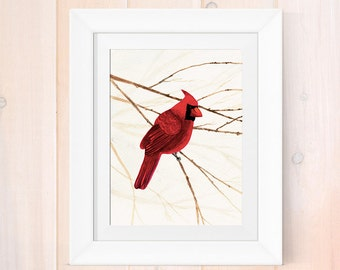 Watercolor print, cardinal painting, watercolor cardinal art print, giclee print, home decor, garden artwork, bird lover art print