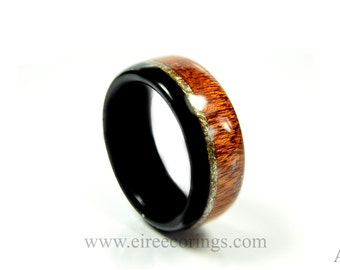 Wood engagement ring Mahogany wood and Irish bog Oak