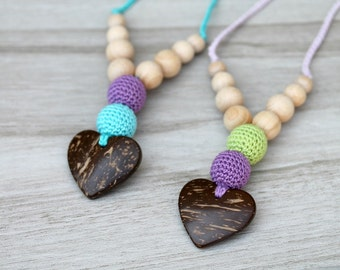 Organic Crochet Nursing Necklace  with hart coconut pendant, Baby teething toy, Breastfeeding necklace - Choose your color